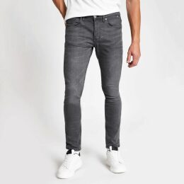 Mens River Island Grey Sid skinny fit jeans