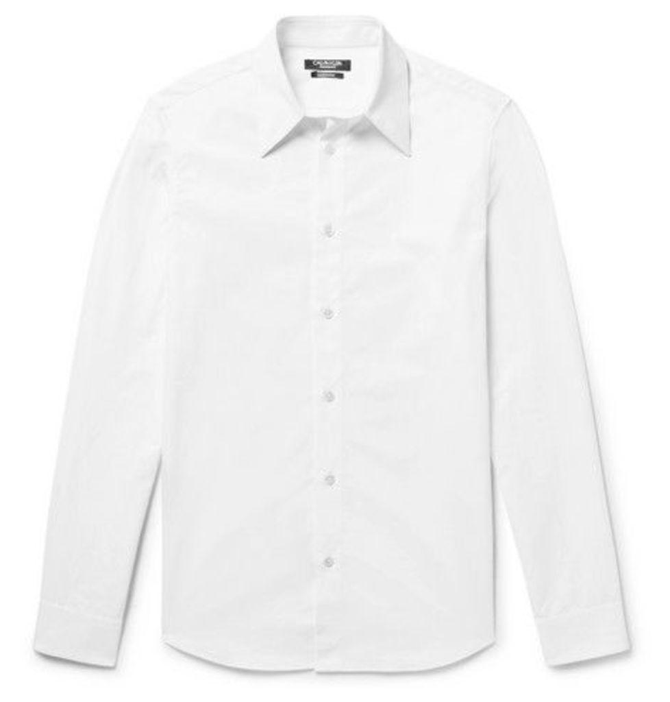 0f96ea477636 CALVIN KLEIN 205W39NYC - Slim-fit Embroidered Cotton-poplin Shirt - White