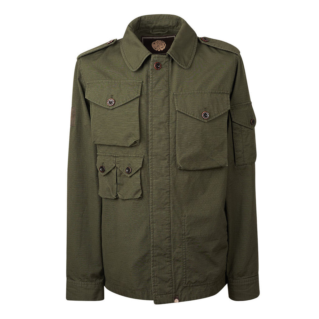 Pretty Green Men s Cotton Ripstop M65 Jacket - Green - XXL by Pretty ... a146b8055ec2