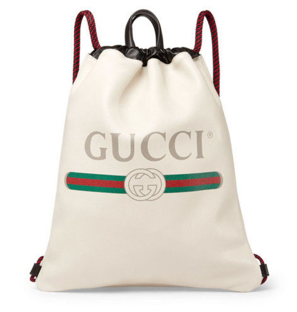 Gucci - Printed Full-grain Leather Backpack - White