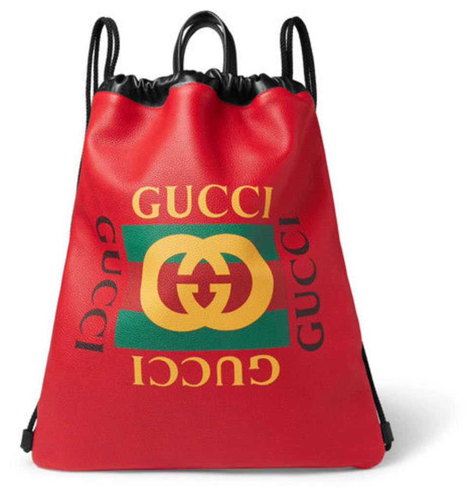 Gucci - Printed Leather Drawstring Backpack - Red