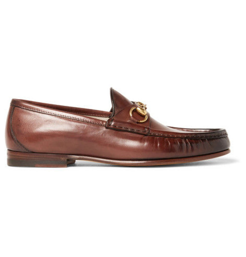 6aa650dd1 Gucci - Roos Horsebit Burnished-leather Loafers - Brown by Gucci ...