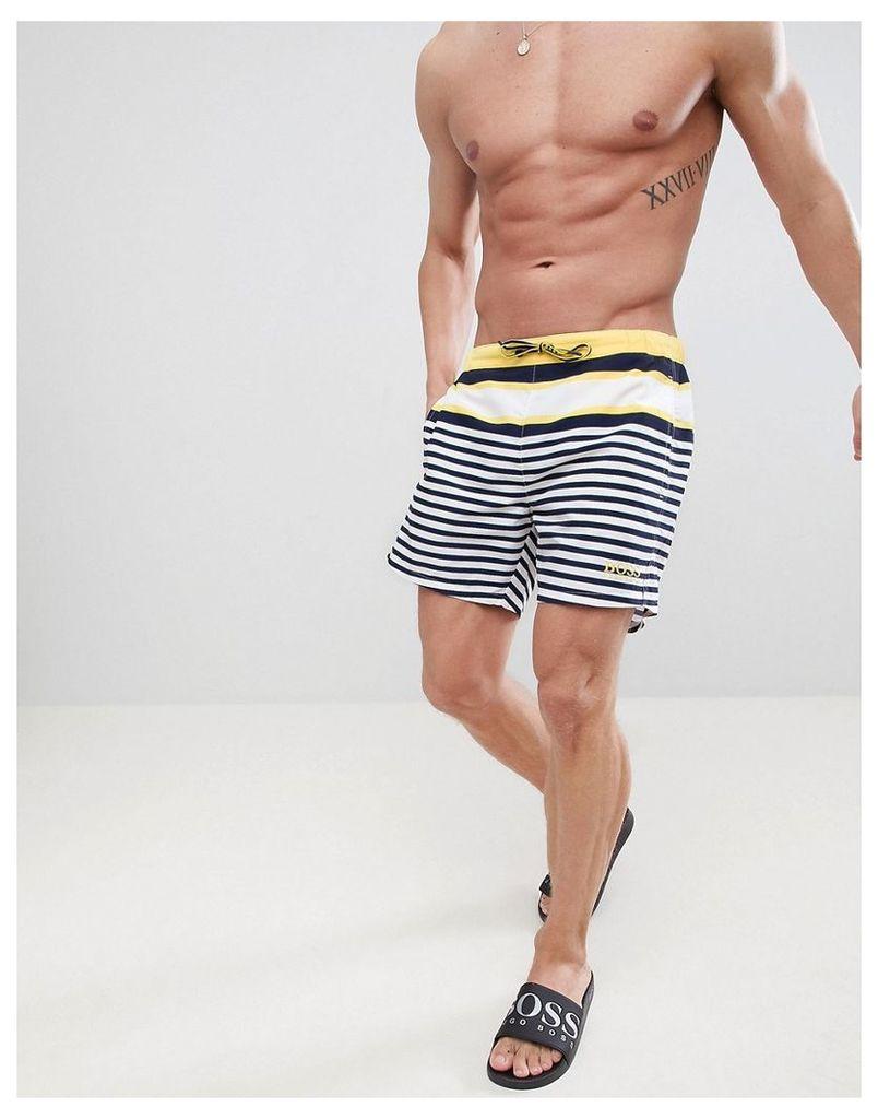 e3a201579e BOSS Bannerfish Swim Shorts in Stripe - Blue by Boss | Snap Fashion ...