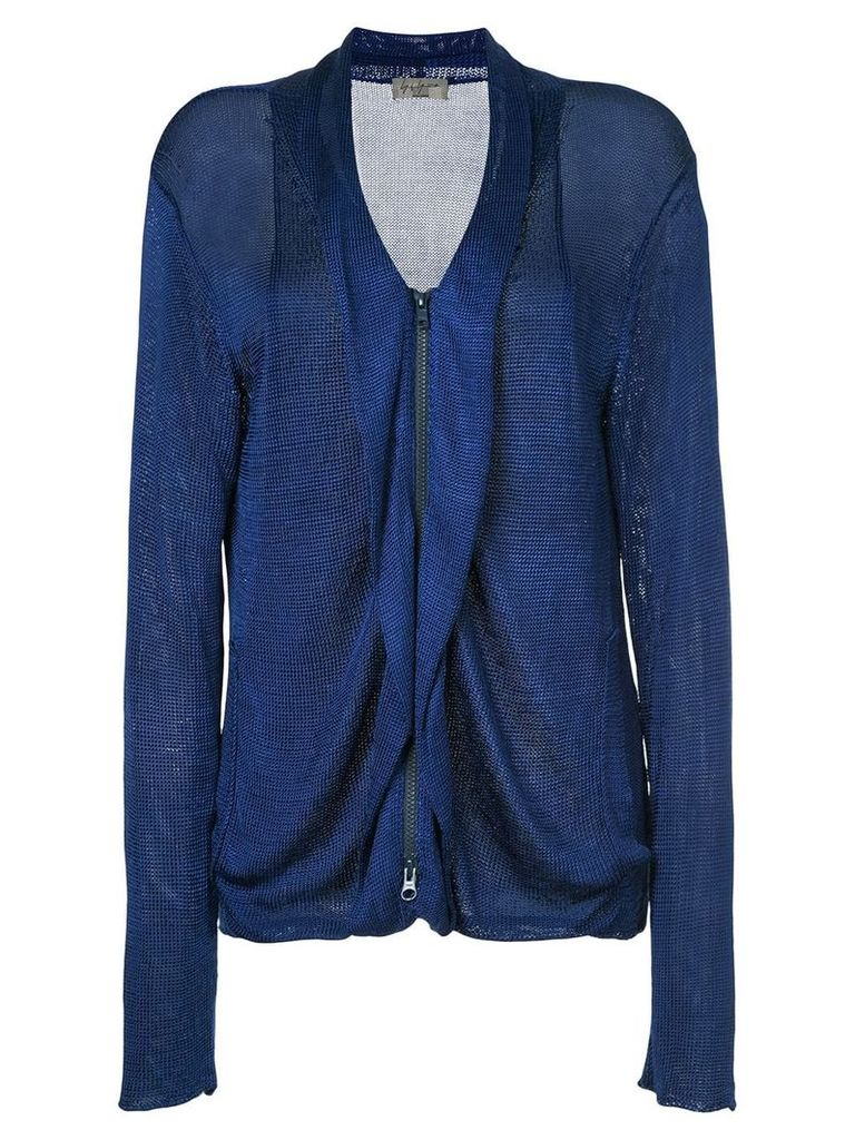 Yohji Yamamoto Pre-Owned zip up jacket - Blue