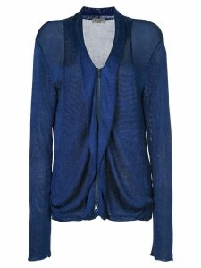 Yohji Yamamoto Pre-Owned zip up jacket - Blue