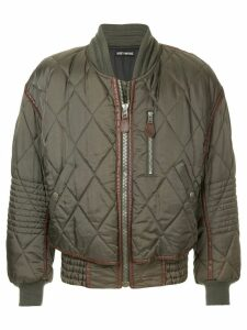 Issey Miyake Pre-Owned contrast-trim quilted bomber jacket - Green