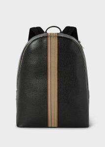 Men's Black Leather Signature Stripe Backpack
