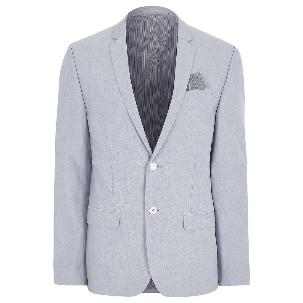 Mens Light Blue skinny fit Oxford blazer