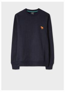 Men's Navy Organic-Cotton Embroidered Zebra Sweatshirt