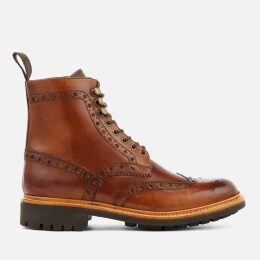 Grenson Men's Fred Hand Painted Leather Commando Sole Lace Up Boots - Tan - UK 9 - Tan