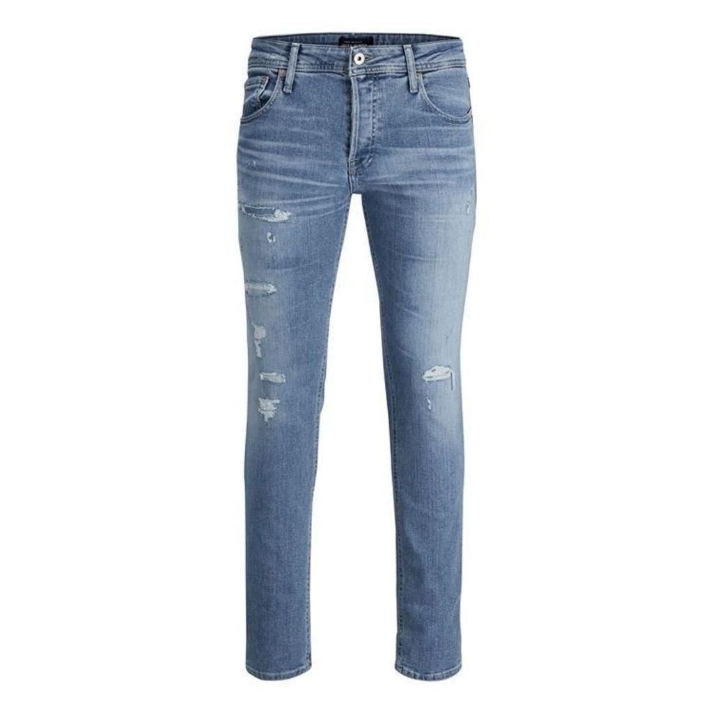 Jack and Jones Tim Rip Jeans Mens