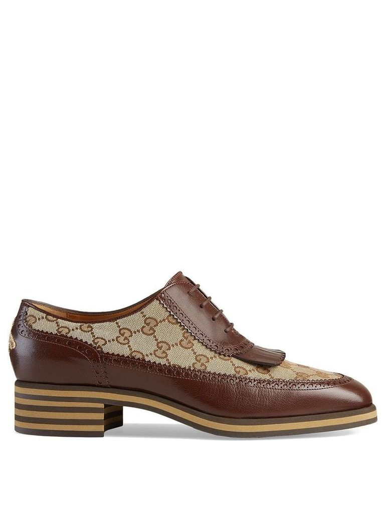 Gucci Leather and GG brogue shoes - Brown