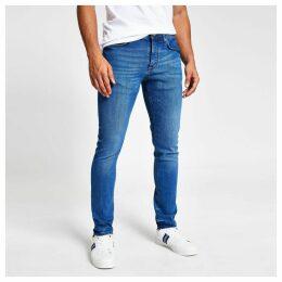 Mens River Island Mid Blue Eddy skinny jeans