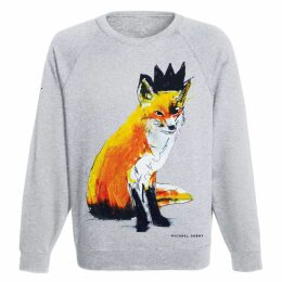 Michael Gurhy - Fox With Black Crown Grey Sweatshirt