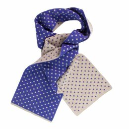 40 Colori - Beige Petrol Blue Dotted Wool & Cashmere Scarf