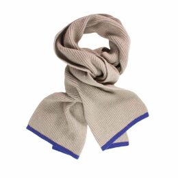 40 Colori - Beige Petrol Blue Small Ribbed Wool & Cashmere Scarf