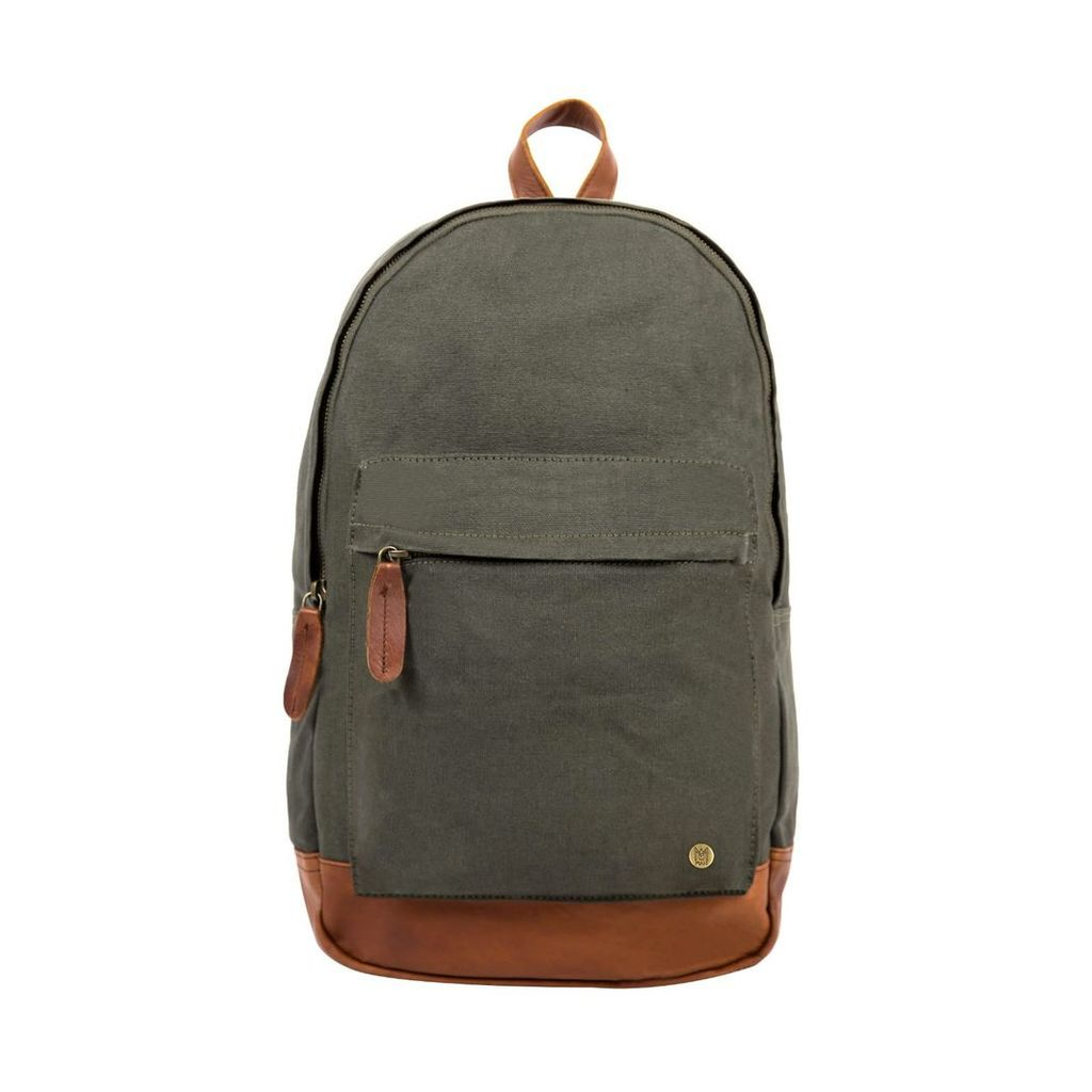 MAHI Leather - Leather & Canvas Classic Backpack In Forest Green