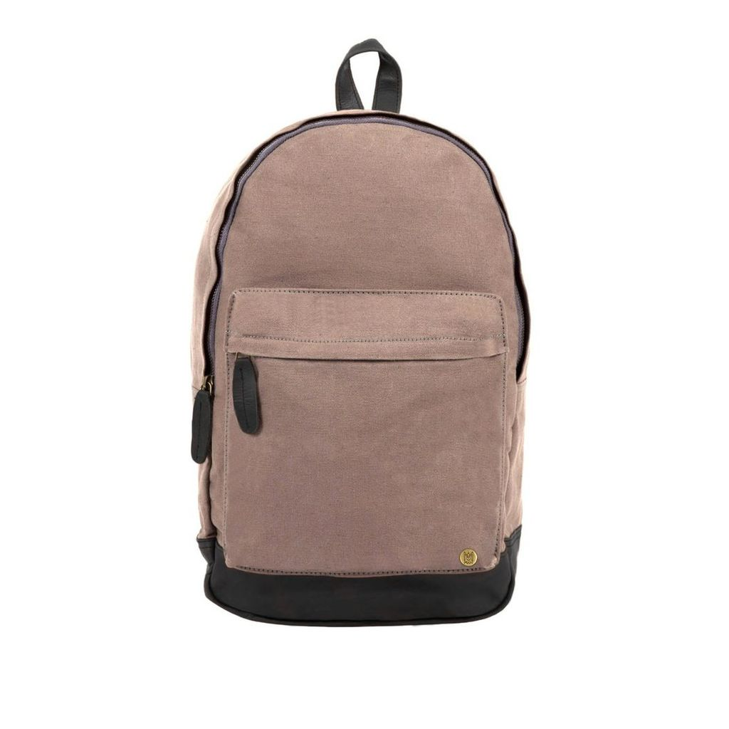 MAHI Leather - Leather Canvas Classic Backpack Rucksack In Grey