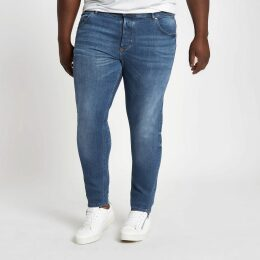 Mens River Island Big and Tall mid Blue faded Sid skinny jeans