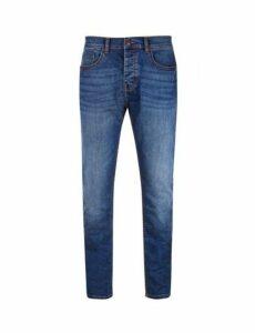 Mens Mid Wash Blue Carter Slim Fit Jeans, Blue