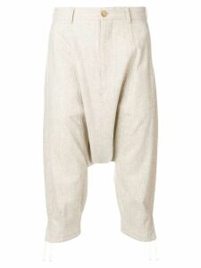 Comme Des Garçons Pre-Owned cropped drop-crotch trousers - Neutrals