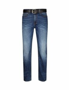 Mens Blue Belted Logan Straight Leg Jeans, Blue