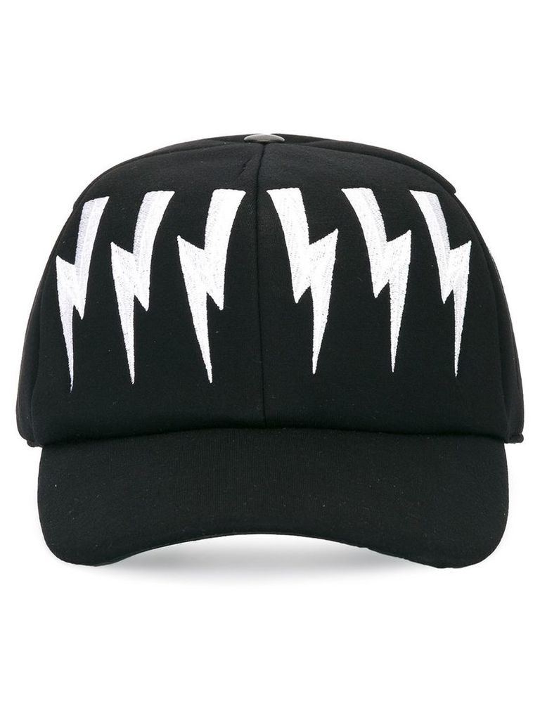 Neil Barrett lightning bolt baseball cap - Black by Neil Barrett ... 02b5587c6ddf