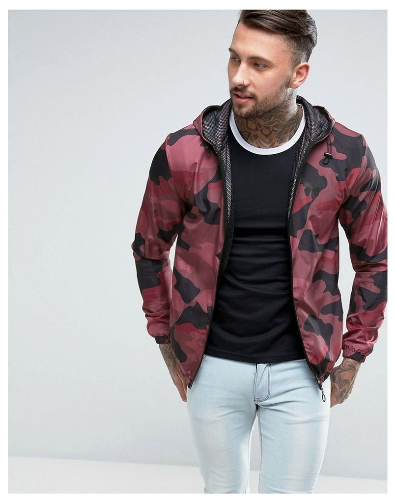 5274d4561f354 Good For Nothing Windbreaker Jacket In Burgundy Camo - Red camo by ...