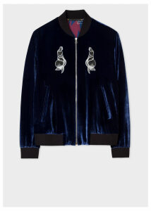 Paul Smith + Nick Cave For Hingston Studio - Blue Velour 'Lovely Creatures' Bomber Jacket
