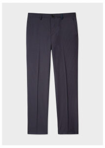 Men's Mid-Fit Navy Check Wool-Blend Trousers
