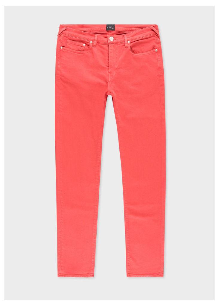 Men's Slim-Fit Coral Garment-Dye Jeans