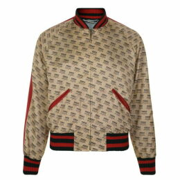 Gucci Baseball Stamp Print Bomber Jacket