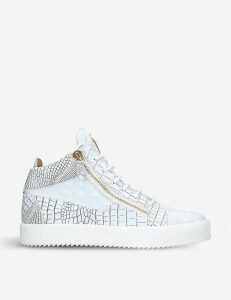 Crocodile-embossed leather mid-top trainers