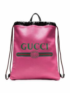 Gucci Pink Logo Print Leather Backpack