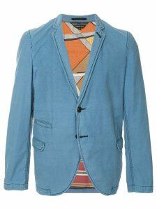 Comme Des Garçons Pre-Owned scarf lined slim jacket - Blue