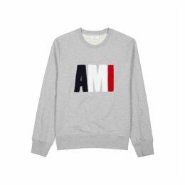 AMI Grey Logo-appliquéd Cotton Sweatshirt