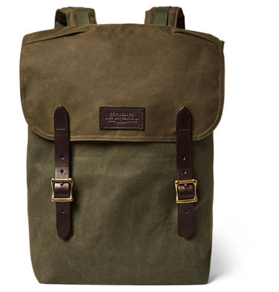 Filson - Ranger Leather-trimmed Twill Backpack - Green