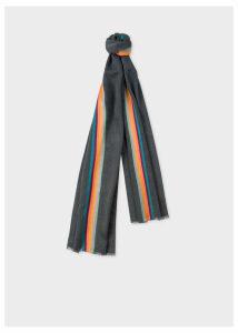 Men's Slate Grey 'Artist Stripe' Band Herringbone Wool-Blend Scarf