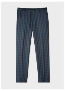 Men's Slim-Fit Dark Green Check Wool Trousers