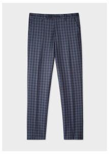 Men's Slim-Fit Navy Check Wool Trousers