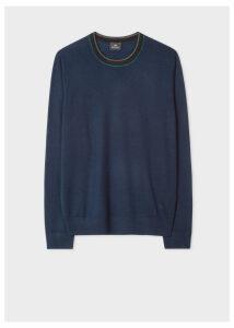 Men's Dark Navy Wool Sweater With Contrast Collar