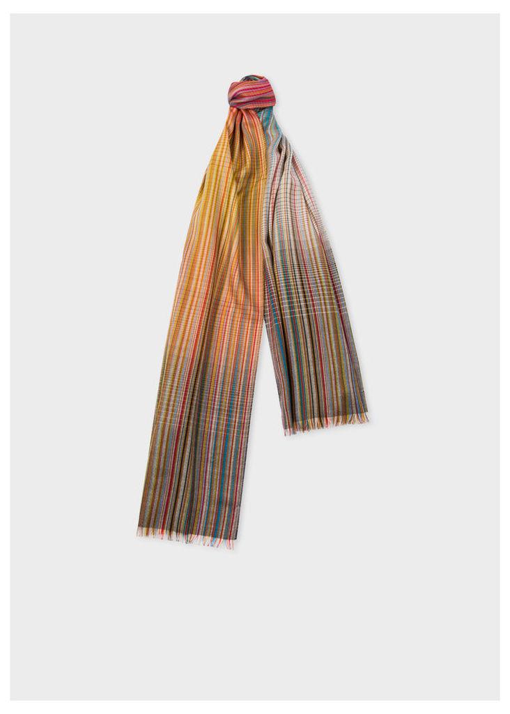 Men's Signature Stripe Gradient Wool-Blend Scarf