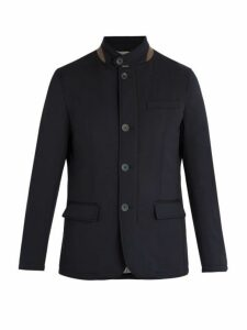 Herno - Single Breasted Wool Blend Jacket - Mens - Navy