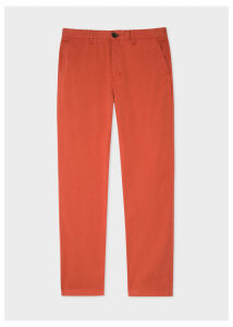 Men's Tapered-Fit Burnt Orange Stretch Pima-Cotton Chinos