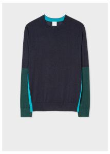 Men's Dark Navy Color-Block Crew-Neck Wool-Silk Sweater