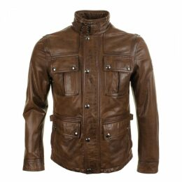 Belstaff Warrington Leather Jacket Walnut