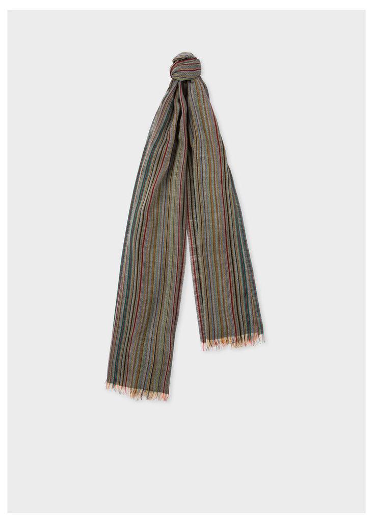 Men's Signature Stripe Mercerised Wool Scarf