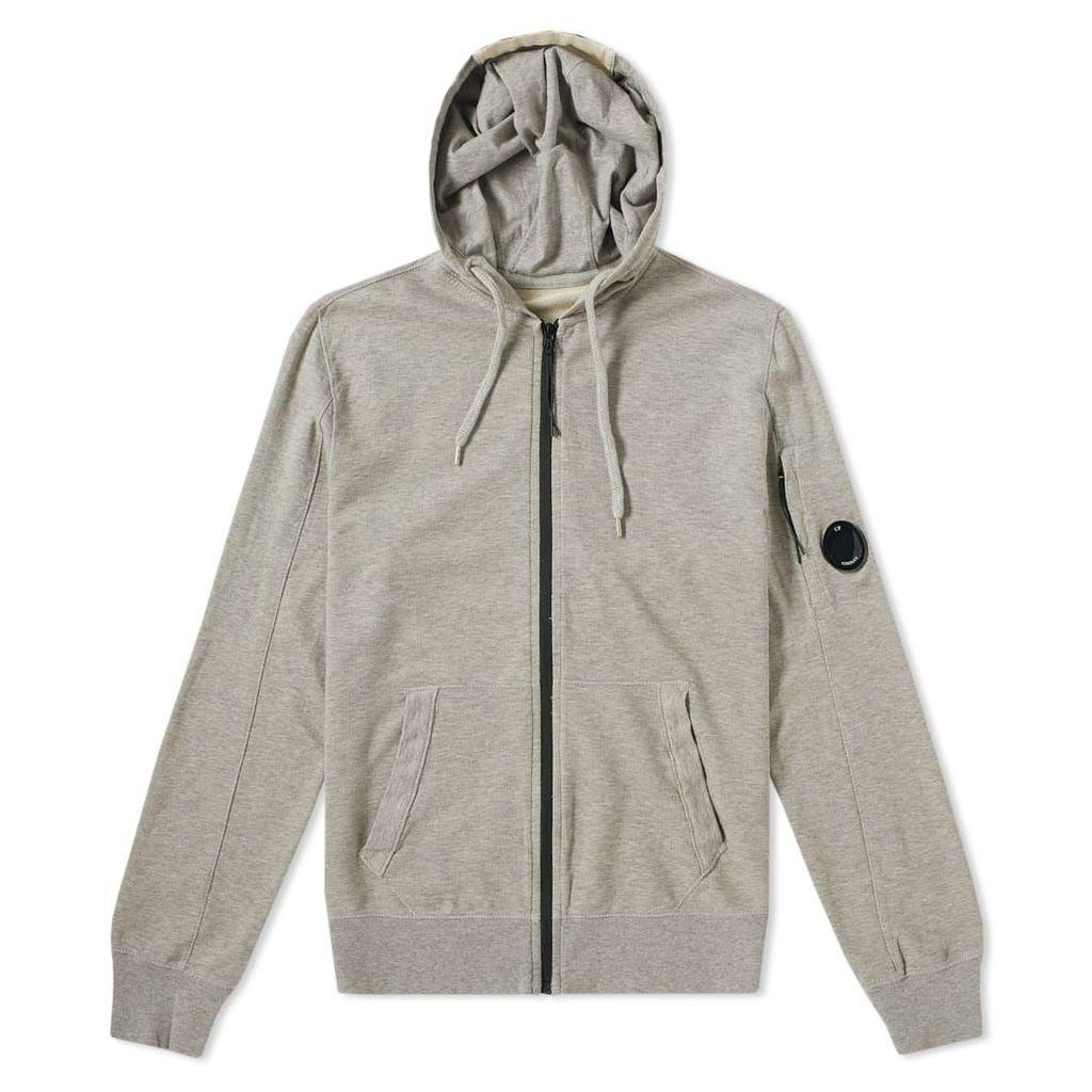 C.P. Company Garment Dyed Light Fleece Zip Hoody Grey Melange
