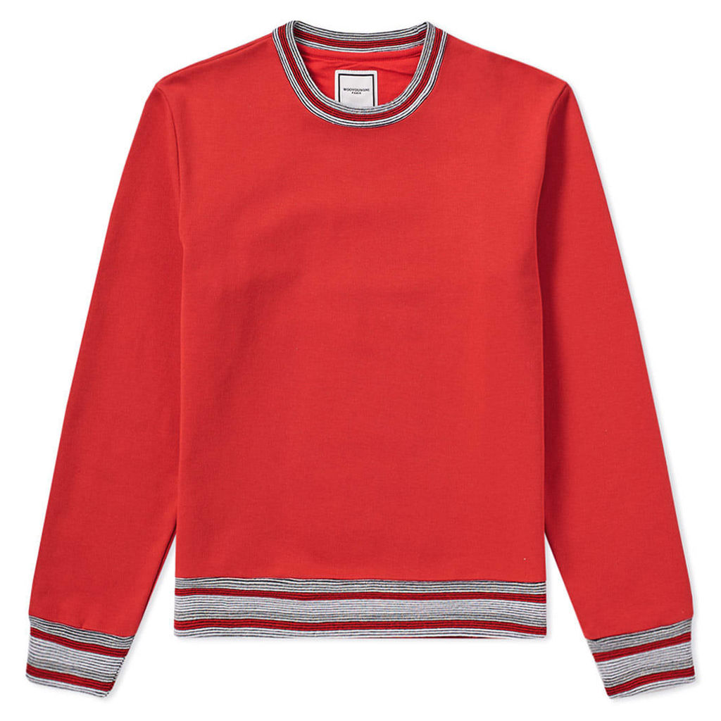 Wooyoungmi Tipped Rib Crew Sweat Red