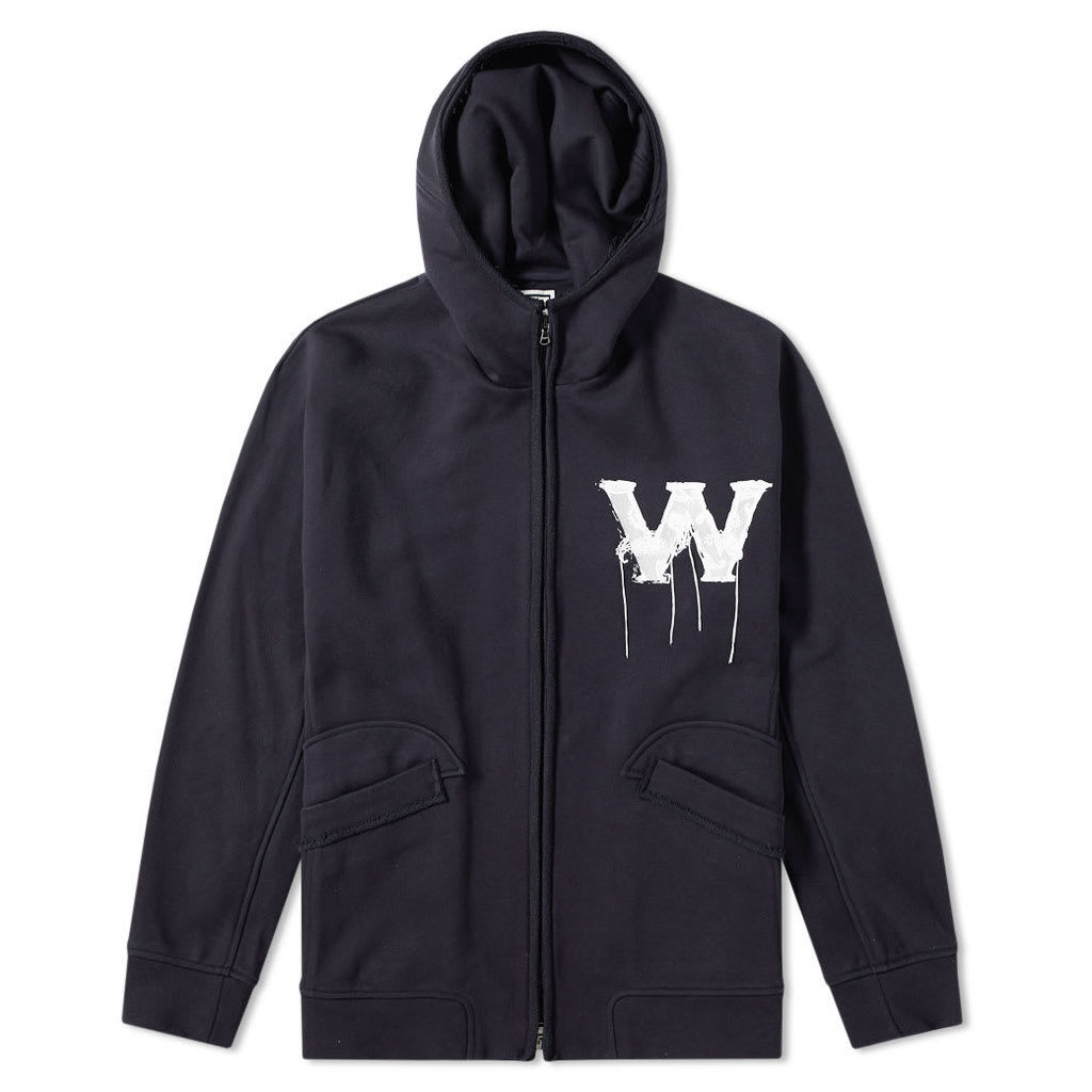 Wooyoungmi Zip Through W Logo Hoody Navy